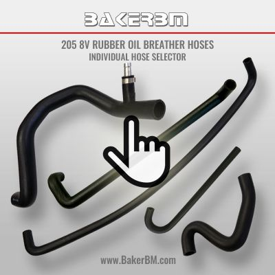 205 8v Rubber Oil Breather Hoses - Individual Hose Selector
